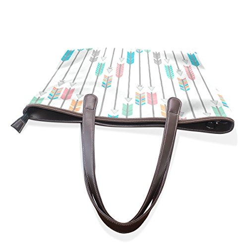 COOSUN Frecce elaborazione Tote dimensioni Bag cm spalla di Tote muticolour di L dell'unità della maniglia cuoio a borse 33x45x13 di colorate grandi rrgFadq