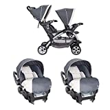 Baby Trend 5 Point Harness Double Stroller & 35 LB Infant Car Seat w/Car Base
