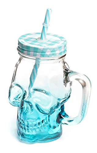 Mason Jar Glass Skull Design 16oz with Handle & Straw