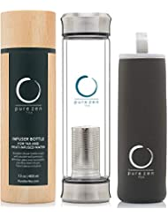 Pure Zen Tea Tumbler with Infuser - BPA Free Double Wall Glass Travel Tea Mug with Stainless Steel Filter - Leakproof Tea Bottle with Strainer for Loose Leaf Tea and Fruit Water 13 Ounce