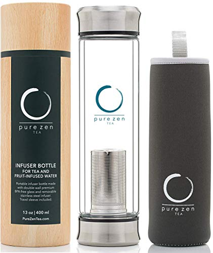 Pure Zen Tea Tumbler with Infuser - BPA Free Double Wall Glass Travel Tea Mug with Stainless Steel Filter - Leakproof Tea Bottle with Strainer for Loose Leaf Tea and Fruit Water 13 Ounce (Thermos Tea Tumbler)