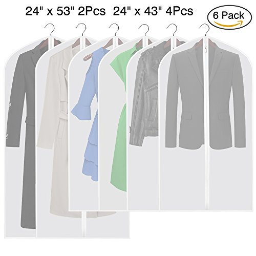 Etmury Garment Bag 6 Pack of PEVA Dust Moth Proof Hanging Clothing Covers Set with Full Zipper Breathable for Closet Clothes Suits or Dresses Storage Protector ()
