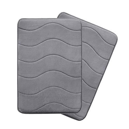 Flamingo P Microfiber Memory Foam Fieldcrest Luxury Bath Rugs, 17-Inch by 24-Inch, Gray, Waved Pattern, Two Pieces