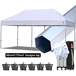 ABCCANOPY PRO Ez Pop up Canopy Tent Commercial Instant Gazebos with Roller Bag and Weight Bag (10x20ft, White-Aluminum)