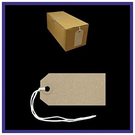 50 Pack Buff Strung Tags 82mm x 41mm Reinforced Luggage Tags String Labels