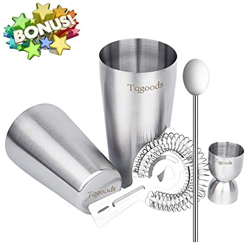 Cocktail Shaker Set for Professional Bartender and Home Bar including 26oz & 20oz Boston Shaker, Strainer, Measuring Jigger and Mixing Spoon ( 5 Piece Set ) / Bonus Cocktail Recipe (ebook) by Tqgoods