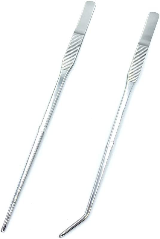 FRUTA Long Reptiles Feeding Tongs Stainless Steel Straight and Curved Tweezers Set Polished Aquarium Tweezers Feeding Tools for Reptiles Lizards Bearded Dragon Gecko Snake Bird Aquatic Plants- Silver