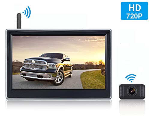 HD Digital Wireless Backup Camera System 5 Inch LCD Monitor for Trucks,Cars,SUVs,Pickups,Vans,Campers Front/Rear View Camera Super Night Vision Waterproof Easy Installation ()