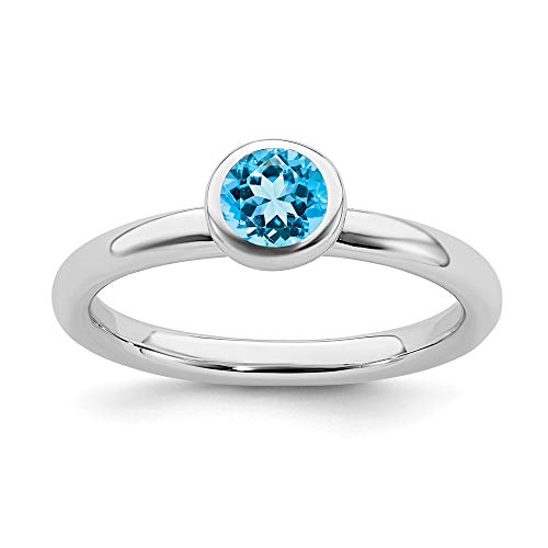 - 925 Sterling Silver Low 5mm Round Blue Topaz Band Ring Size 6.00 Stone Stackable Gemstone Birthstone December Fine Jewelry Gifts For Women For Her