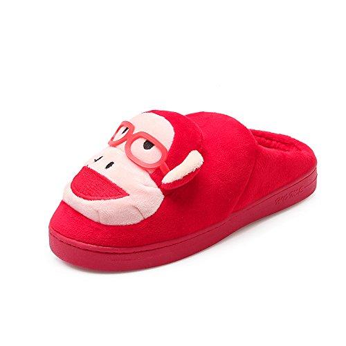 Y-Hui inverno pantofole di cotone Gli amanti della femmina Home Fondo spesso Anti Slip scarpe semi rimorchio,36-37 (per 3435 piedi),Gules