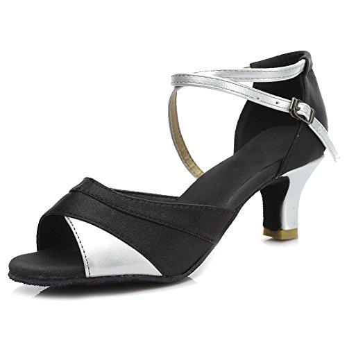 Zapatos Satén de Mujer HROYL Salón Latino Baile 5 de Baile 221 Plateado w5qXg0OX