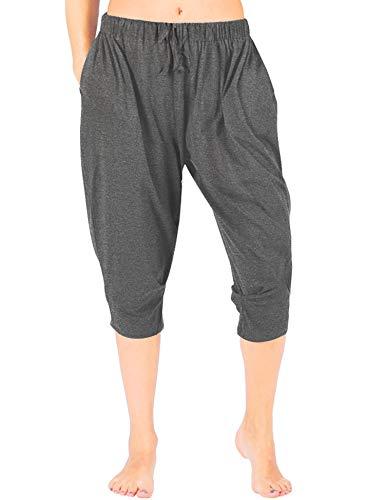 (WEWINK CUKOO Women Cotton Capri Pajama Pants Cropped Lounge Pants with Pockets Harem Pants (M=US 8-10, Granite Gray))