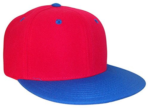 (THS Retro Vintage Ness Style Snapback Cap (One Size, Red/Royal)