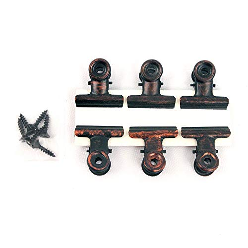Rustic Bronze Metal Hinge Clips (Pack of 6) - by BarnwoodUSA | Made of Metal with a Antique Bronze Finish | Traditional Vintage Style Home Decor | Arts & Crafts | Photos (1.25inch) (Clips Black Metal)
