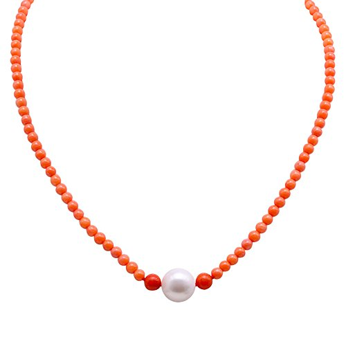 JYX Pearl 3.5-5.5mm Orange Round Coral Beads Necklace and White Freshwater Cultured Pearl Pendant Necklace 16