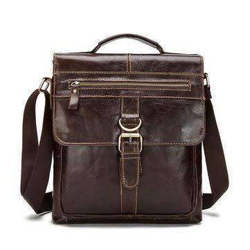 Men Business Genuine Real Leather Casual Coffee Messenger Crossbody Bag Handbag Briefcase - Crossbody Bags For Business - (Chocolate)