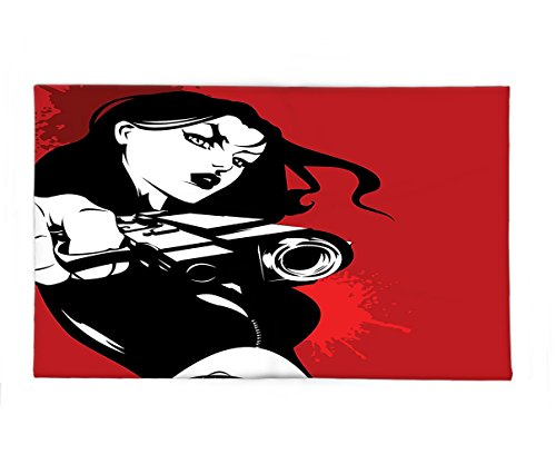 Detective Costume Images (Interestlee Fleece Throw Blanket Girls Decor Strong Iconic Warrior Lady Character Holding a Gun Female Detective Weapon Image Print Black Red)