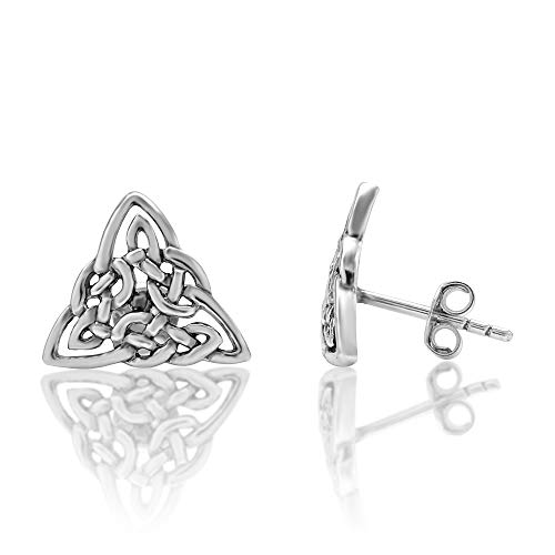 925 Sterling Silver Small Celtic Trinity Triangle Knot 13 mm Post Stud Earrings