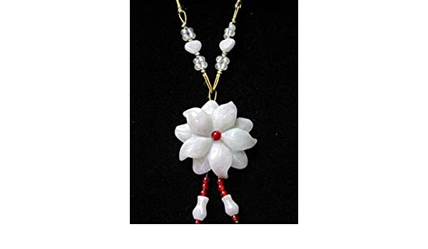 Large Heart Beaded Chain Delicately Carved Jadeite Jade Bauhinia Flower Necklace