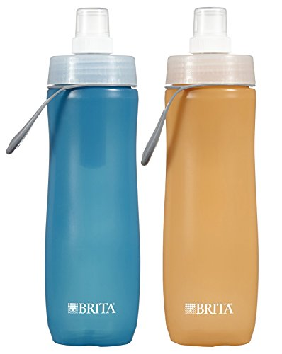 Brita 20 Ounce Sport Water Bottle with 1 Filter, BPA Free, Twin Pack, Blue and Orange (Designs May Vary) (Brita Water Bottle Orange compare prices)
