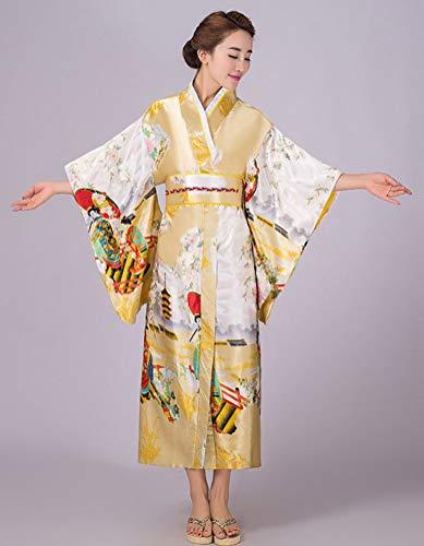 84f497a085 Soojun Women s Traditional Japanese Kimono Style Robe Yukata Costumes 3  Yellow