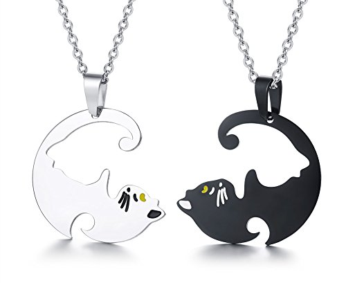 Mealguet Jewelry Stainless Steel Black and White Yin yang Matching Puzzle Cat Couples Pendant Necklace for Men Women
