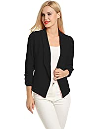 Women 3/4 Sleeve Blazer Open Front Cardigan Jacket Work...