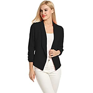 sports shoes f60fa 11b3b POGT Women 3 4 Sleeve Blazer Open Front Cardigan Jacket Work Office Blazer  ...