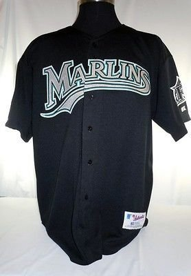 174841129 Miami Florida Marlins Vintage Russell Black Jersey with 10th ...
