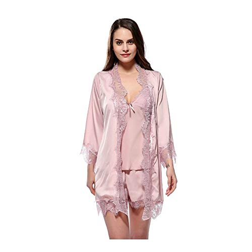 Fucsia Lingerie Notte Accappatoio HAOLIEQUAN Abbigliamento Set Kimono Robe Autumn Di Spaghetti Top Lace Pigiama Da Raso Strap Seta Shorts In q4HpwC