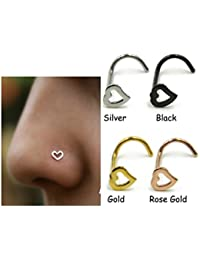 3 Pcs Heart Nose Studs Piercing Ornament Nose Ring Screw Stainless Steel Curved Nose Nails