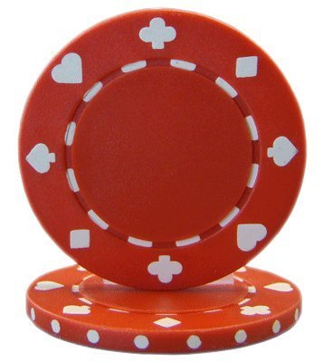 Brybelly Suited Poker Chips (50-Piece), Red, 11.5gm ()
