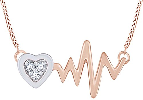 (Round Shape White Natural Diamond Accent Heartbeat Pendant Necklace in 10K Two Tone Rose Gold (0.04 Cttw))