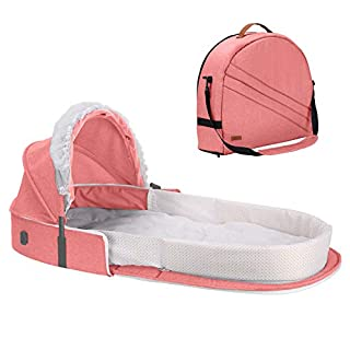 Caroeas Babycare Travel Bassinet, Portable Baby Travel Bed for 0-12 Months Infants, Padded Soft Infant Sleeper with Canopy and Netting, Travel Crib Baby Carrycot …