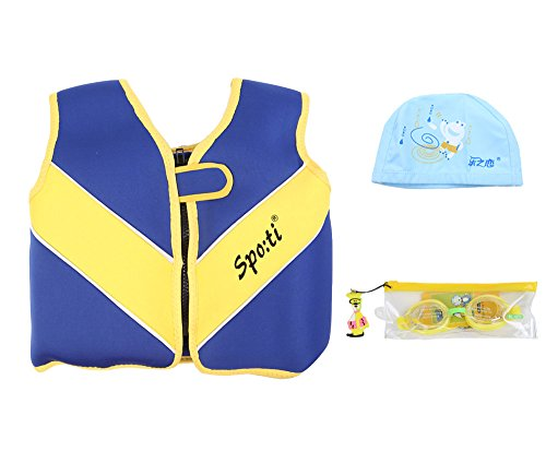 Genwiss Baby's Swim Large Life Jacket 3-4 Years Blue include Swimming Goggles and Swim Cap
