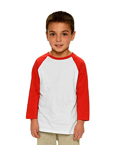 Monag Unisex Toddler 3/4 Sleeve Raglan Tee 2T White/Red by Monag