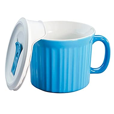 Corningware 20-Ounce Oven Safe Meal Mug with Vented Lid, Pool