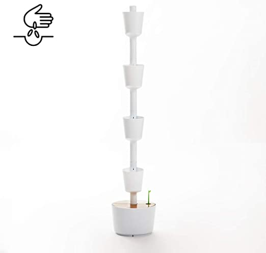 Kit Huerto urbano vertical con autorriego digital, blanco, 4 ...