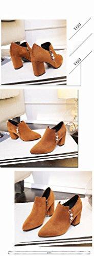 scarpe punta alto donne inverno stivali Zh scalzo tacco Martin marea ruvida chiaro marrone con 0fd8nq