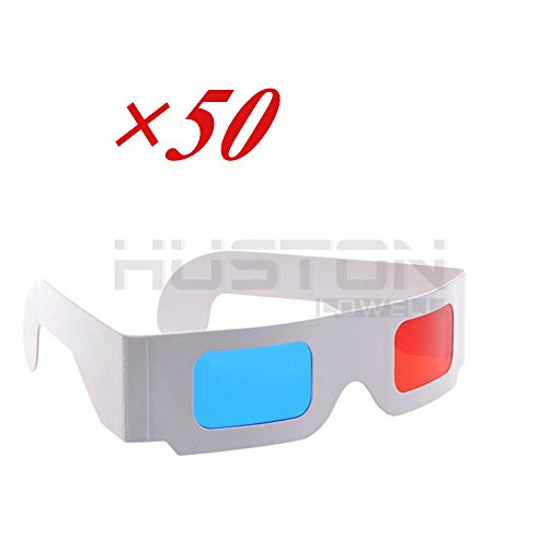 Wonderpark - Value Pack 3D Glasses Red/Cyan Anaglyph Lenses White Multipack - WHITE Frame Anaglyph Cardboard - Folded in Protective Sleeve - FLAT (50pcs)