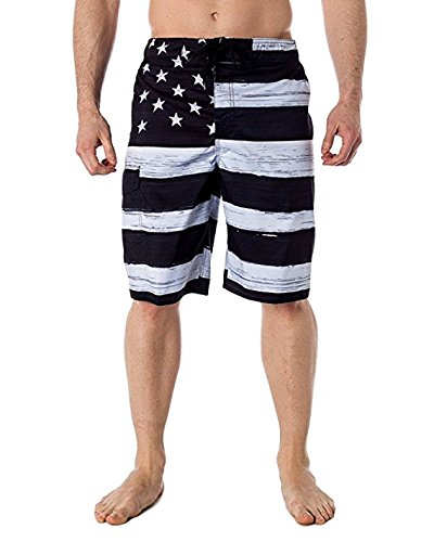 VbrandeD Men's American Flag Inspired Board Shorts Black XL