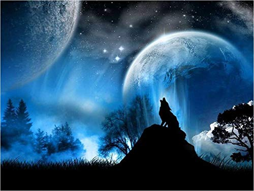 5D Diamond Painting,Rhinestone Diamond Embroidery Paintings Pictures DIY Paint with Diamonds Arts Craft for Home Wall Christmas Decor 30 x 40cm Full Drill (Wolf)