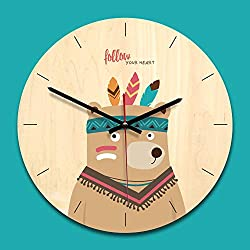 Vovomay Wooden Creative Wall Clock Modern Minimalist Living Room Cartoon Silent Clock (b)