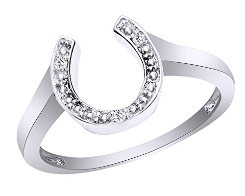 Round Cut White Natural Diamond Accent Horseshoe Ring in 10K Solid Gold