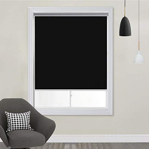 TFSKY Blackout Shades for Bedroom Cordless Roller Blinds and Shades for Windows Blackout Window Blinds with Spring System, UV Protection & Easy to Put Rise and Fall Black, 27x72