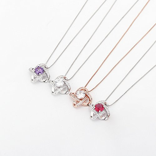 Crystal Jewelry Set for Women - Elegant Rose Gold Jewelry Set for Wedding Bridal Crystal Cubic Zirconia Love Knot Pendant Necklace Earrings for Party Prom Valentine's Day Fashion Jewelry Gift Set by AMYJANE (Image #6)