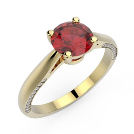 AURORE Bagues Or Blanc 18 carats Rubis Rouge 0,6 Rond