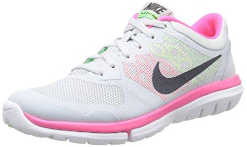 NIKE Womens Flex Run 2015 Running Shoe Pure Platinum/Voltage Green/Hyper Pink/Metallic