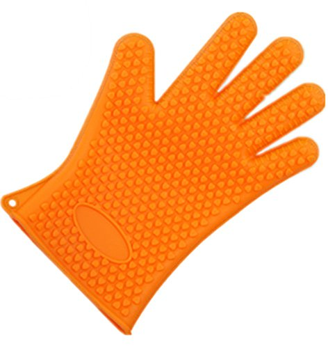 BBQ Glove, L&H Heat Resistant Silicone Kitchen Oven Gloves-Perfect Grill Gloves, Protective Mitts, Great for Cooking, Pot Holder, Waterproof Grill Gloves in Orange Cplor