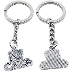 20 PCS Antique Silver Plated Keyrings Keychains NY0M1 Love Cats Key Ring Chains Tags Clasps